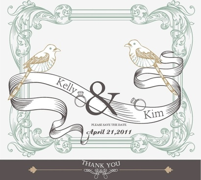 wedding decor template european classical birds ribbon sketch