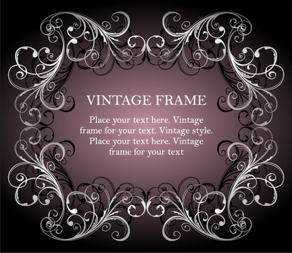 vintage frame template symmetric seamless curves ornament