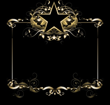 frame template elegant dark modern golden star decor