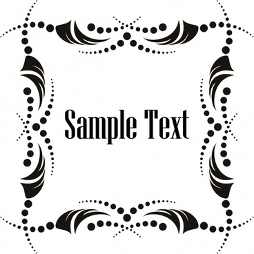 border template classical black white symmetric decor