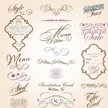 decorative elements elegant symmetric shapes curves calligraphic sketch