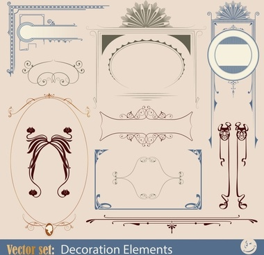 decorative elements elegant european symmetric sketch