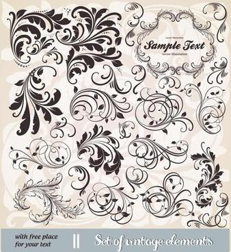 document decorative elements elegant retro curves shapes
