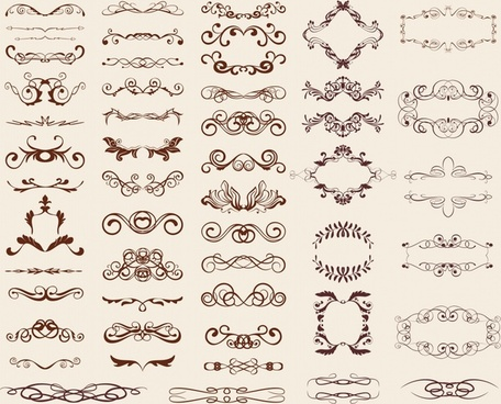 decorative elements templates collection elegant symmetric european curves
