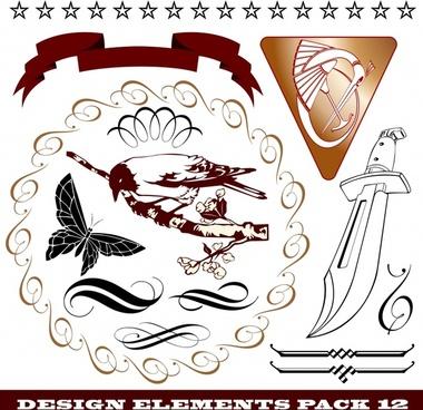 document design elements retro 3d flat sketch