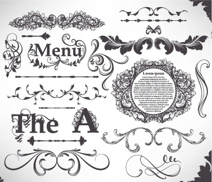 menu decorative elements elegant classical european sketch