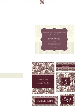 wedding card templates european formal retro decor