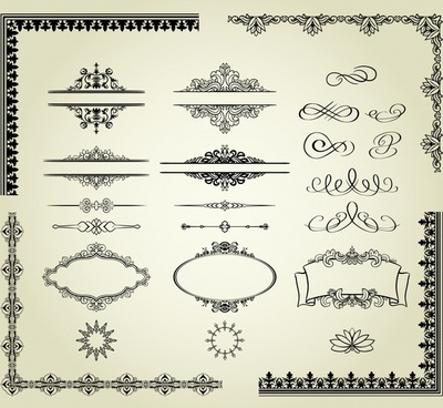 document decorative elements formal european symmetric curves shapes