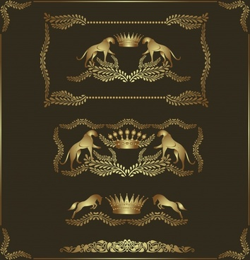 decorative card template luxury golden european royal symbols