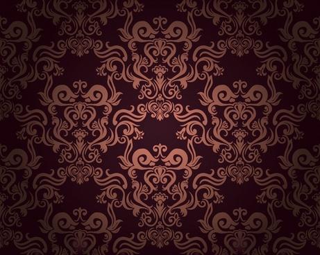 decorative pattern template dark retro european symmetric design