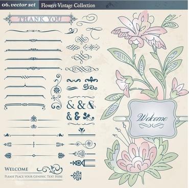wedding card decor elements elegant european classic shapes
