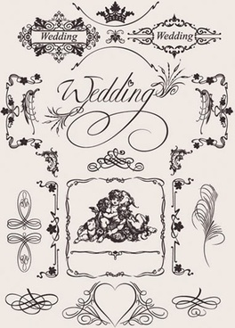 wedding card design elements elegant retro symmetric curves