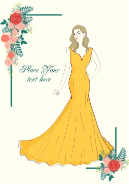 event banner elegant woman rose icons handdrawn sketch