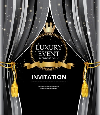 event invitation card crown ribbon icons elegant design