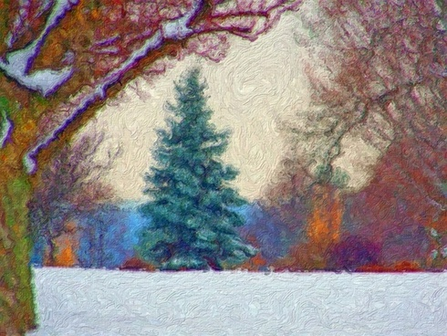 evergreen in snow painting