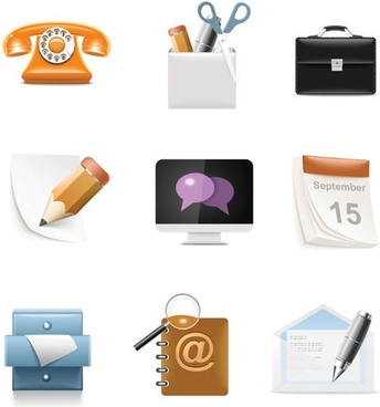 office icons shiny modern 3d symbols sketch