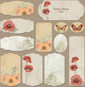 excellent vintage flower labels vector