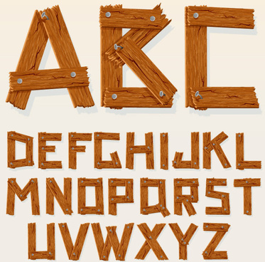 excellent wooden alphabet design vector