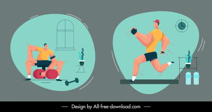 exercise icons jogging gymnasium sport sketch cartoon design