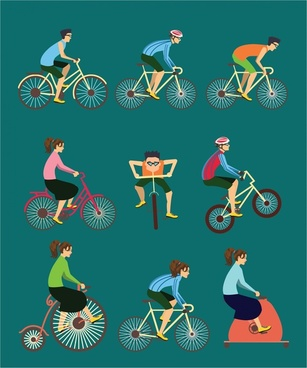exercise vector illustration with various cycle styles