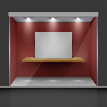 exhibition booth window free vector