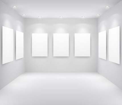 painting gallery room decor template shiny white 3d sketch