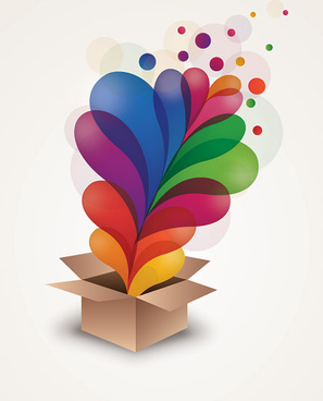exploding gift box vector graphic
