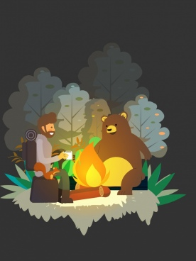 exploration background man stylized bear fire icons