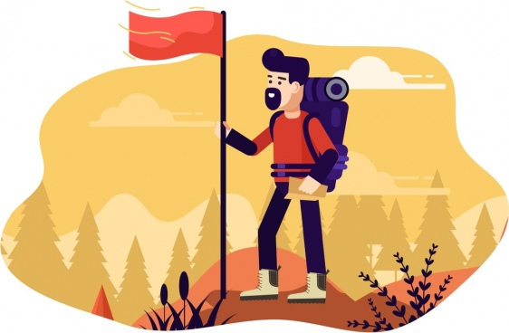 exploration background mountaineering theme flag man icons