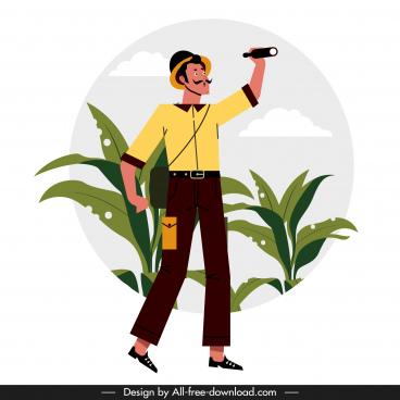 exploration job background searching man sketch cartoon design