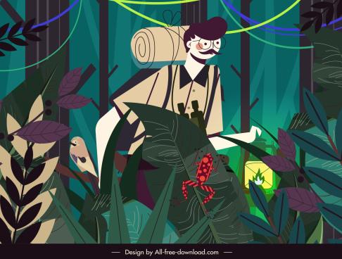 exploration painting jungle explorer sketch cartoon design