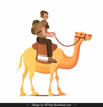explorer icon man riding camel sketch cartoon character