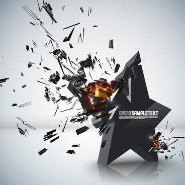 explosive threedimensional graphics 01 vector