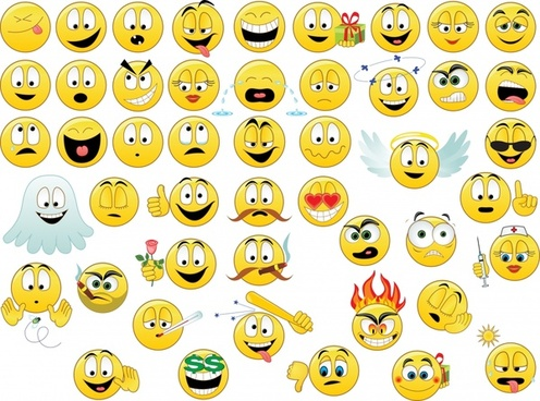 emoticon collection funny faces icons yellow circles design