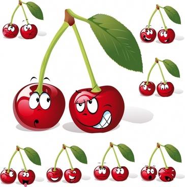 cherry icons funny stylized sketch shiny modern design