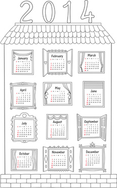 exquisite14 calendars creative design vector