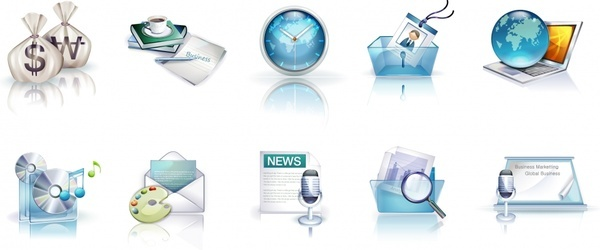 exquisite 3d business icons vector