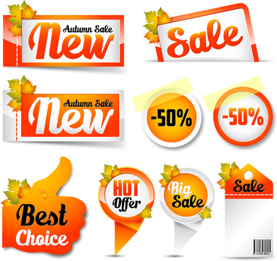 exquisite autumn discounts sticker vector