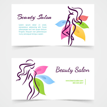 exquisite beauty salon business cards vector