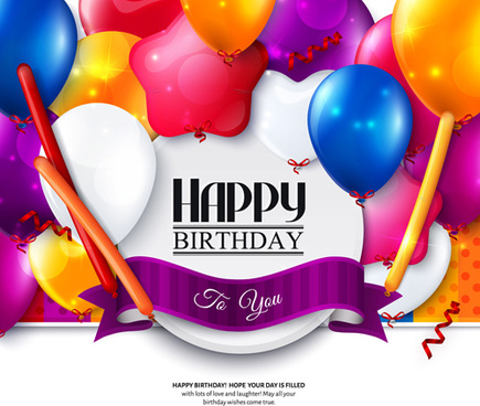 exquisite birthday card with colored balloons vector