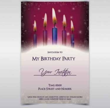 Exquisite Birthday Invitations Card Vector