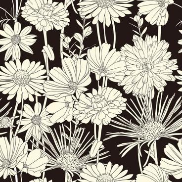 exquisite blackandwhite line art background 03 vector