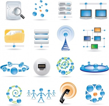 communication technology icons colored modern symbols sketch