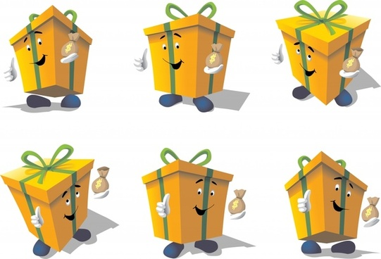 present box icons cute stylized 3d design