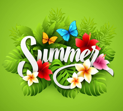 exquisite butterflies with flowers summer vector background