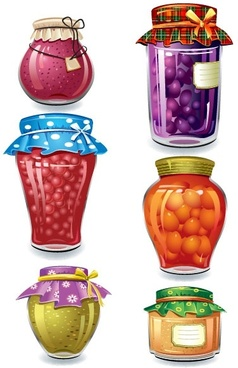 exquisite canned fruit 01 vector