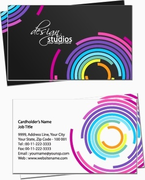 business card template contrast design colorful concentric circles