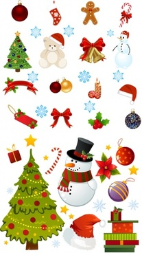 exquisite cartoon christmas ornaments vector