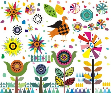 exquisite cartoon elements pattern vector