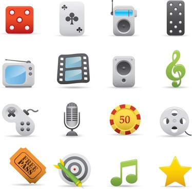 entertainment application icons modern colored flat symbols sketch